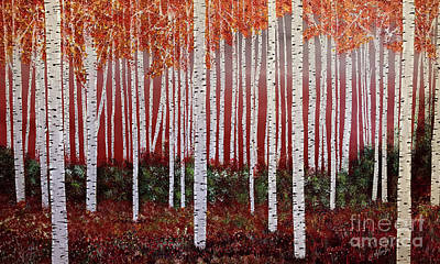 Painting - Birch Tree Forest, Red by Heather McKenzie
