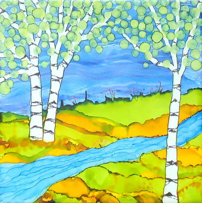 Painting - Birch Tree Landscape  by Laurie Anderson