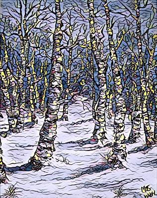 Mixed Media - Birch Tree Mosaic 2 by Megan Walsh
