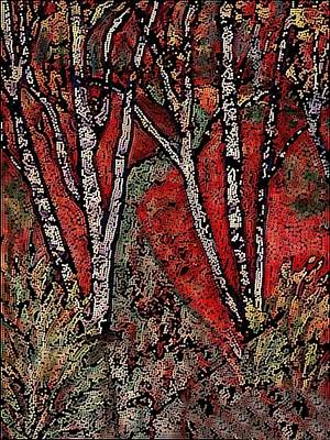Birch Tree Mosaic Art Print
