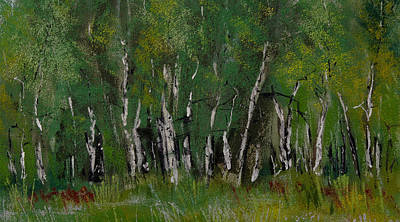 Pastel - Birch Tree Panorama by David Patterson