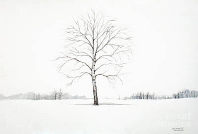 Painting - Birch Tree Upon The Winter Plain by Christopher Shellhammer