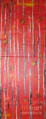 Katharine Hepburn - Birch Trees - Red by Jacqueline Athmann