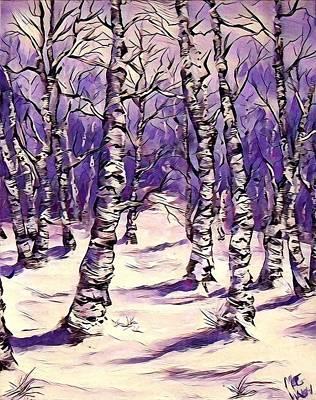 Mixed Media - Birch Trees 4 by Megan Walsh