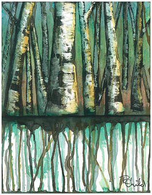 Birch Trees #5 Art Print by Rebecca Childs
