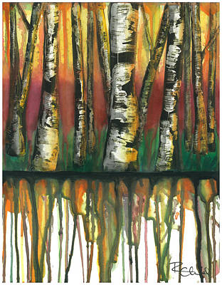Birch Trees #6 Art Print by Rebecca Childs