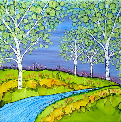 Painting - Birch Trees Abstract Landscape Ceramic Tile Paitning by Laurie Anderson