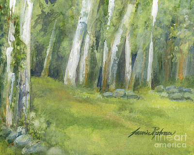 Laurie Rohner Painting - Birch Trees And Spring Field by Laurie Rohner
