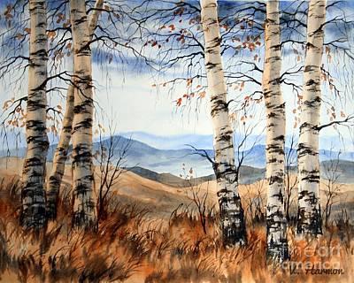 Birch Trees At Crawford Notch -1 Art Print by Varvara Harmon