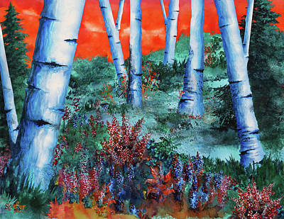 Birch Trees At Sunset Art Print by Curtiss Shaffer