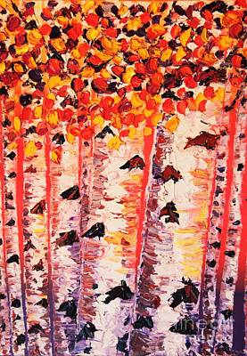 Painting - Birch Trees At Sunset by Eryn Tehan