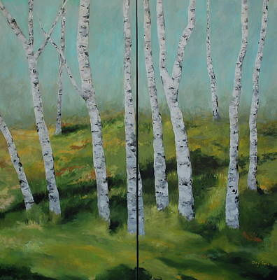 Painting - Birch Trees In The Meadow by Cheryl Green