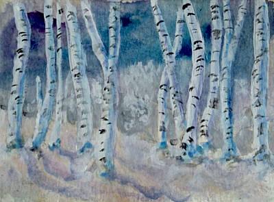 Birch Trees On A Winter Night Print by Jennie Hallbrown