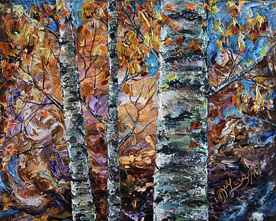 Painting - Birch Trees Oil Painting With Palette Knife  by OLena Art Brand