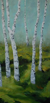 Painting - Birch Trees Side 2 by Cheryl Green