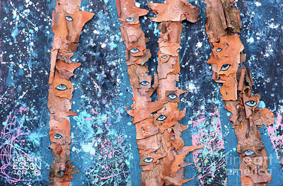 Spring Scenes Mixed Media - Birch Trees With Eyes by Genevieve Esson