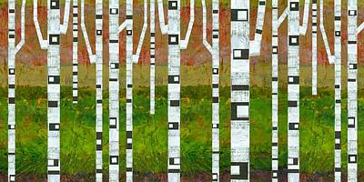 Oversized Digital Art - Birch Trees With Green Grass by Michelle Calkins