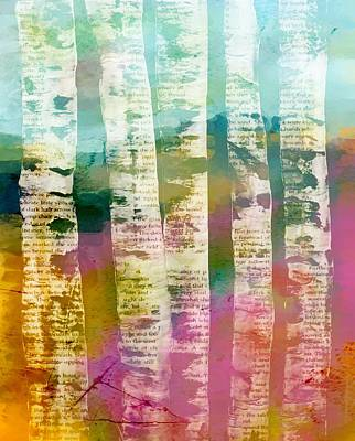 Mixed Media - Birch Trees by Lisa Noneman