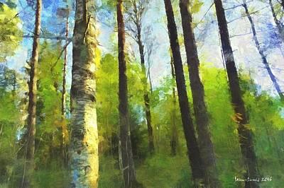 Digital Art - Birch Wood by Jean-Louis Adorsen
