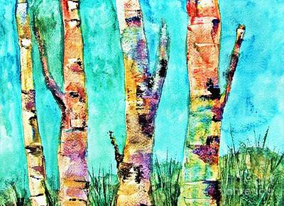 Watercolor Painting Of Birched Trees  Art Print