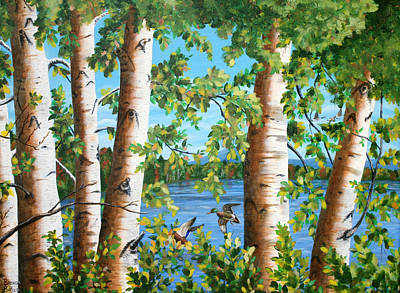 Painting - Birches Along The Androscoggin River by Brenda Baker