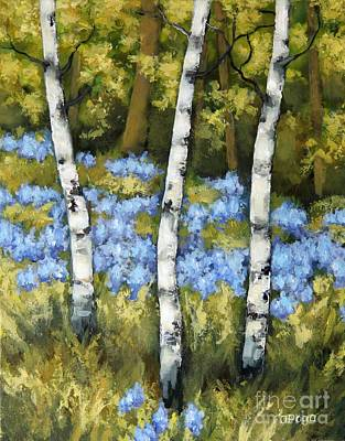 Painting - Birches And Bluebells by Inese Poga