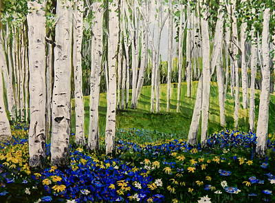Painting - Birches And Some  Blues Modified by Betty-Anne McDonald