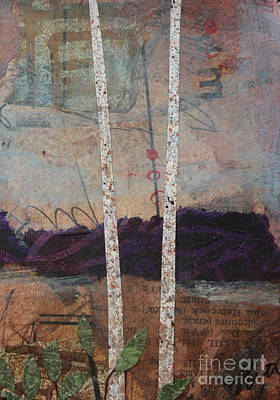 Mixed Media - Birches And Purple Mountains 2 by Janyce Boynton