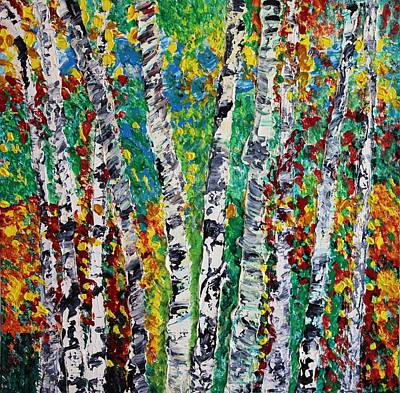 Painting - Birches And Scrub by Valerie Ornstein