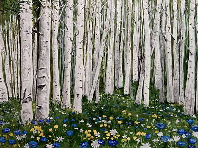 Painting - Birches And Some Blues by Betty-Anne McDonald