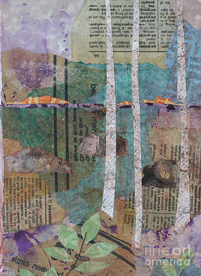 Art Journal Mixed Media - Birches At Sunset by Janyce Boynton