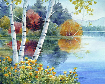 Painting - Birches At White Lake In Autumn by Janet Zeh