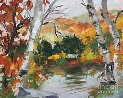 Painting - Birches By The Pond by Lynne Schulte