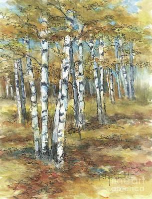 Wall Art - Painting - Birches In Autumn by Kerry Kupferschmidt