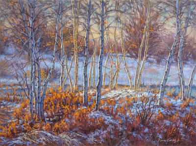 Birches In First Snow Art Print by Fiona Craig