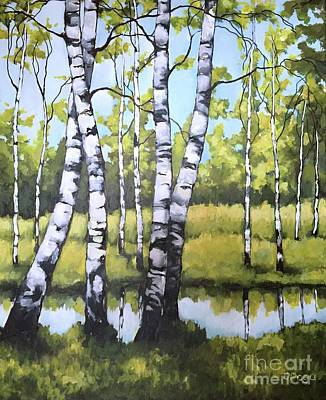 Painting - Birches In Spring Mood by Inese Poga