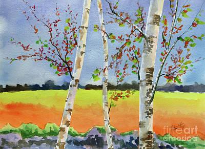 Birches In The Fall Art Print