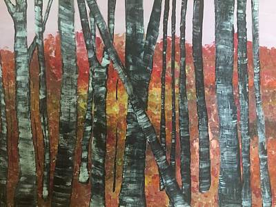 Painting - Birches In The Fall by Paula Brown