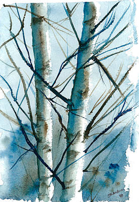 Painting - Birches In Winter Sun by Jan Anderson