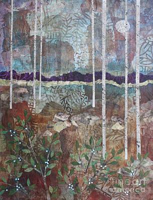 Mixed Media - Birches, Moon, And Berries by Janyce Boynton