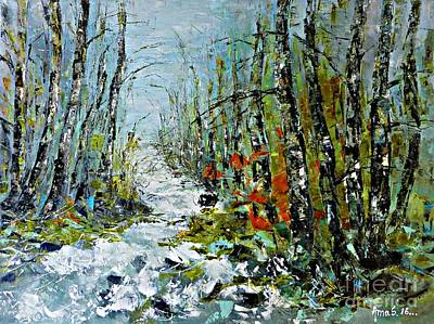 Painting - Birches Near Waterfall by AmaS Art