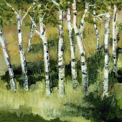 Spring Branch Painting - Birches On A Hill by Michelle Calkins