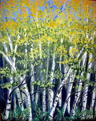 Birches Art Print by Sharon Marcella Marston