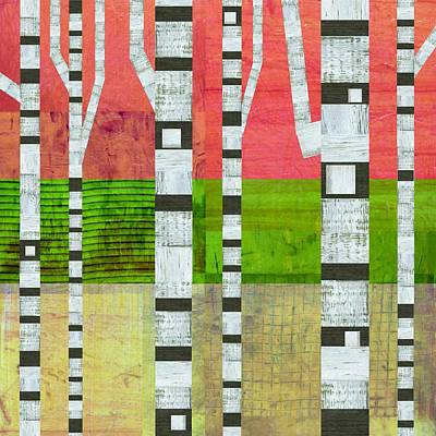 Digital Art - Birches With Green And Cream by Michelle Calkins