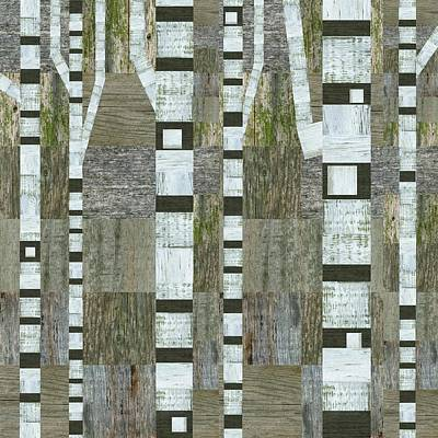Digital Art - Birches With Wooden Background by Michelle Calkins