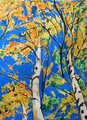 Painting - Birchtrees In Fall by Esther Newman-Cohen