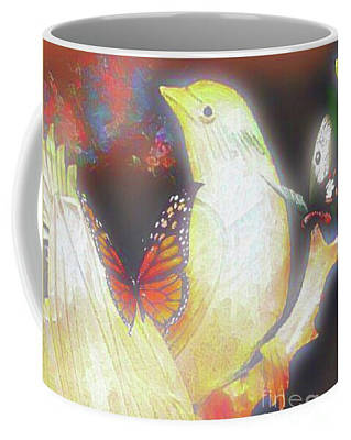 Digital Art - Bird And Butterflies Coffee Mug by Gayle Price Thomas
