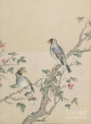 Yellow Beak Painting - Bird And Flower by Celestial Images