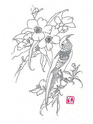 Animals Drawings - Bird and Flowers by Michael Vigliotti