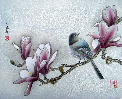 Bird And  Magnolia  Art Print by Leaf Moore